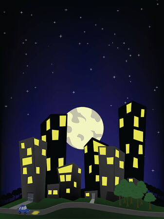 A cartoon depiction of the city on the hill, a night scene 8 vector file format