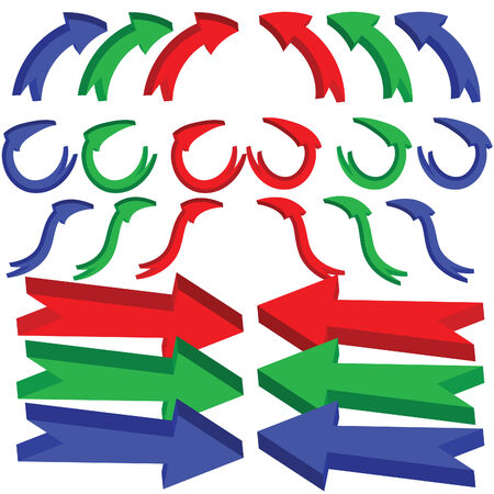 A set of 3d arrows with bends and twists, icon set isolated on a white background.  JPEG and EPS8 files available, background on seperate layer