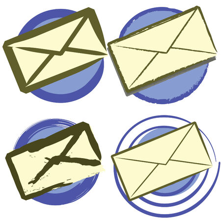 A set of four vector stylized evelopes isolated on a white background.  JPEG and EPS8 available