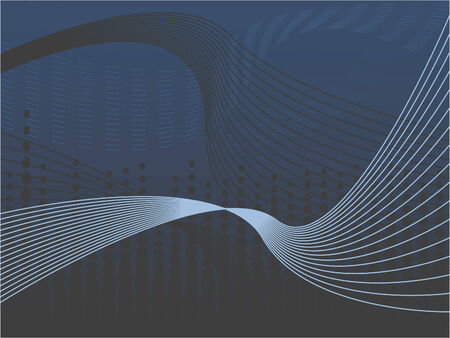 A blue and brown wavy line abstract background illustration Illustration