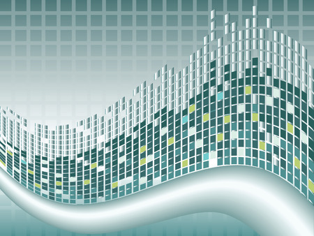 distort: Blue yellow and green squares and wave abstract background. 8 file available
