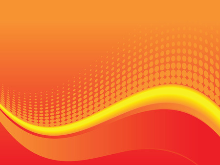 A red, orange and yellow halftone wave background illustration
