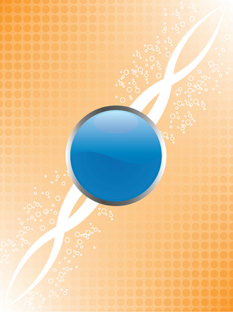 A blue glossy button and orange halftone background with white bubbles and flourish. 8 file available, all elements on seperate layers.