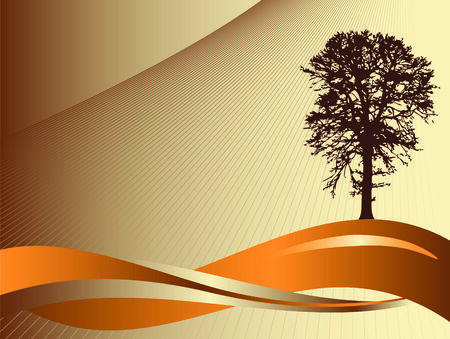 A tree and wavy line silhouette abstract background