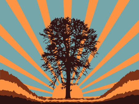 A tree silhouette and sunburst abstract background