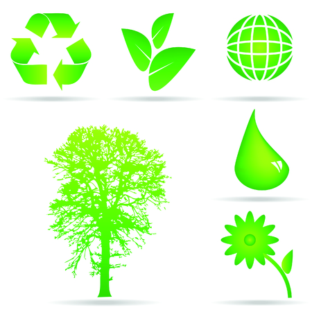A set of green ecology icons for global conservation and recycling Illustration