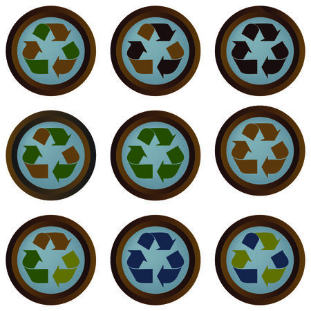 A set of recycling buttons with natural looking colors isolated on a white background