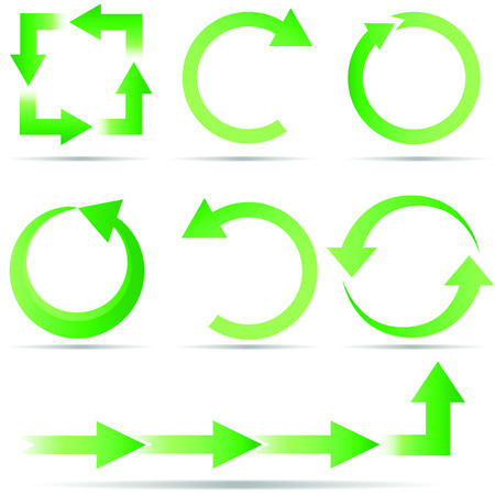 A set of green ecology arrow icons of recycling and full circle ideas isolated on a white background.  Global colors Illustration