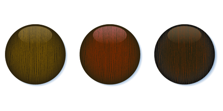 A set of three dark wooden glossy buttons on white background. 8 file. Ilustrace
