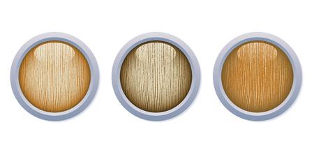 3 つの媒体暗い光沢のある木製ボタン白い背景の上に金属製のフレームのセット。