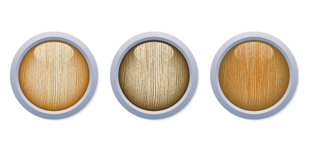 vector button: A set of three medium dark glossy wooden buttons with metal frame on white background.
