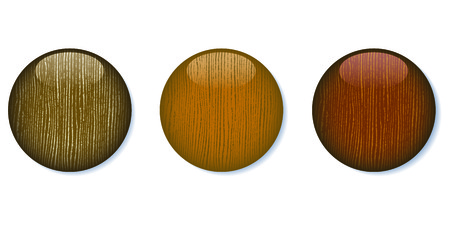 A set of three medium dark glossy wooden buttons on white background, 8 file.