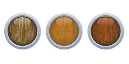 A set of three medium dark glossy wooden buttons with a metal ring on white background, 8 file.