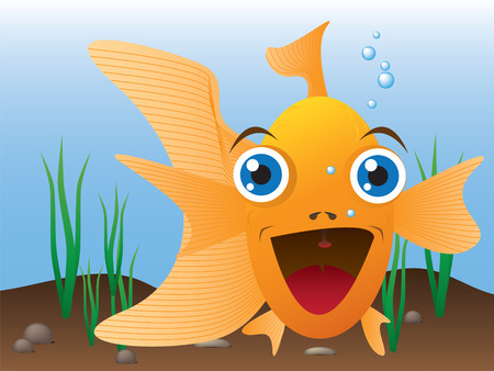 A smilling goldfish looks out from it's aquarium Illustration
