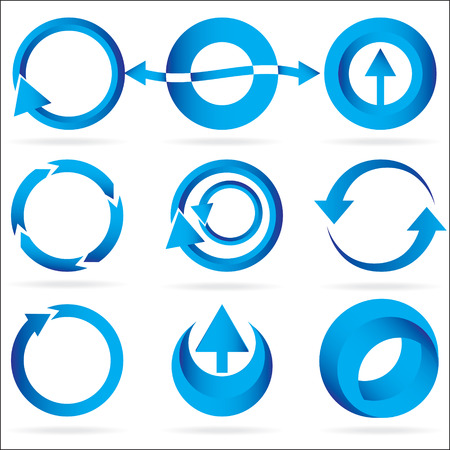 A set of blue arrow circle design element icons isolated on a white background.  8 file. See my portfolio for other great icon and design element sets. Ilustrace