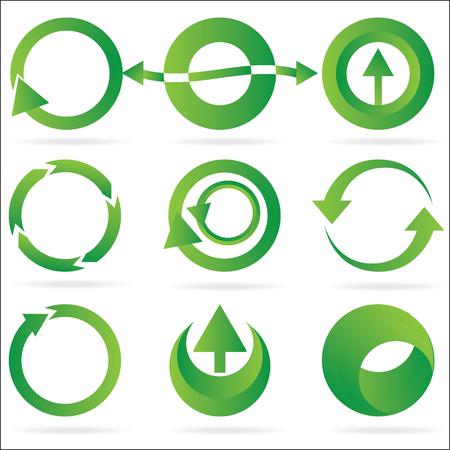녹색 화살표 동그라미 디자인 요소 아이콘 흰 배경에 고립의 집합입니다. 8 파일. 다른 위대한 아이콘 및 디자인 요소 집합에 대 한 내 포트폴리오를 참