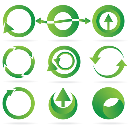 A set of green arrow circle design element icons isolated on a white background.  8 file. See my portfolio for other great icon and design element sets.
