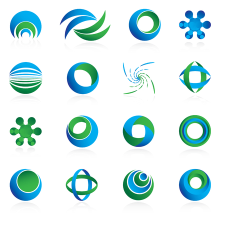 A set of blue and green circle design element icons isolated on a white background.  Ilustrace