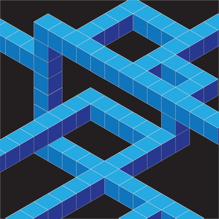 Isometric cubes arranged in lines on a black background