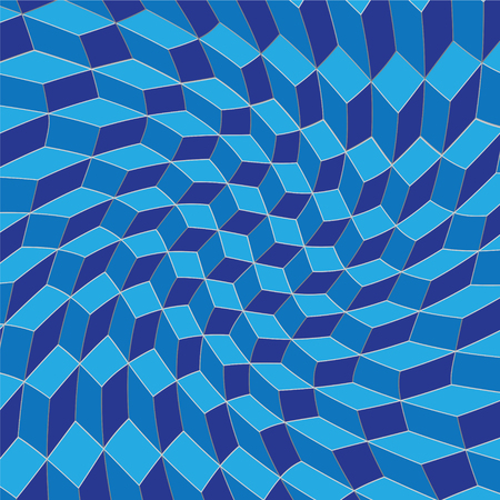 Isometric squares are twisted and distorted in blue Illustration