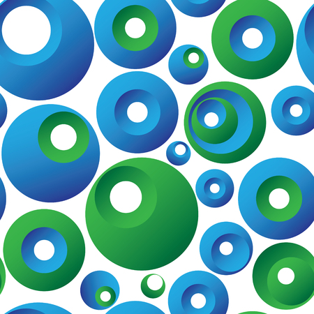 A patterned, tiled seamless background of three dimensional circles on white