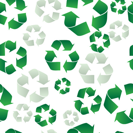 A seamless tiled green ecology recycling background on white
