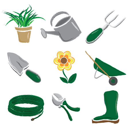 A set of hand drawn brushed style gardening icons isolated on a white background