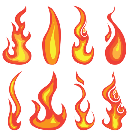 A set of hand drawn red hot flames and fire icon design elements isolated on a white background