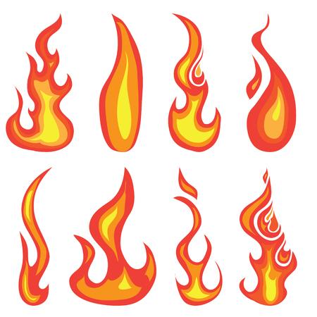 flammes: Un ensemble de main dessin� rouge chaud des flammes et ic�ne des �l�ments de conception isol�s sur un fond blanc de feu
