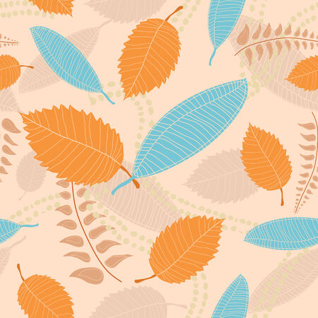A hand drawn retro style seamless, tileable background of leaves in autumn or fall colors Ilustrace