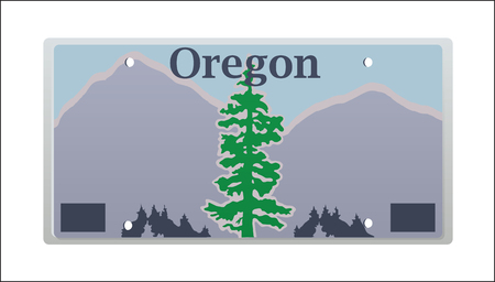 pacific northwest: illustration rendition of the Oregon State License plate
