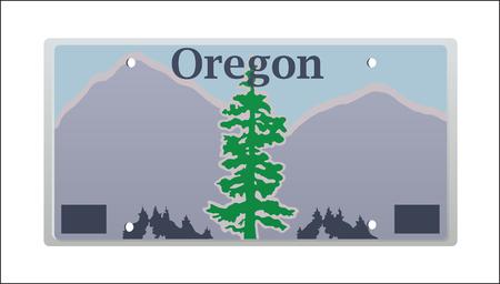illustrazione consegna della targa Oregon stato licenza