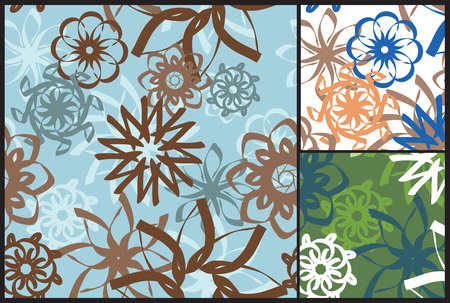 A set of three retro hand drawn, seamless, pastel floral backgrounds