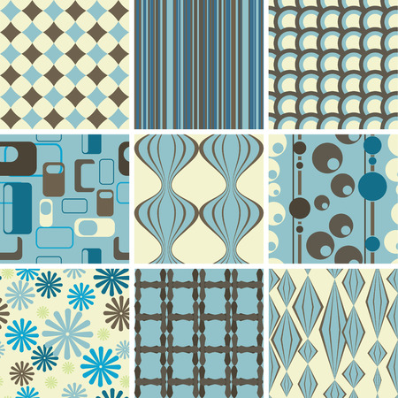 A set of nine groovy seamless retro backgrounds in blue brown and tan, tile away!!!