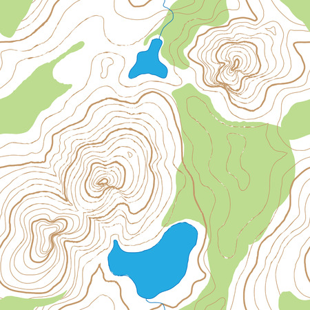 A seamless rendition of a topographic map, with contour lines, of a mountainous area with lakes and forest, now try not to get lost.