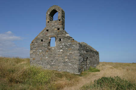 Ruined Chapel at Derbyhaven, Isle of Man Stock Photo