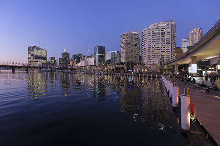 darling: Darling Harbor at sunset. Stock Photo