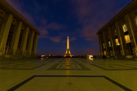 afterglow: View of Eiffel Tower from Trocadero, Paris.