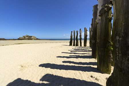 Beach in Saint-Malo, in Brittany, France.