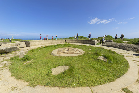 hoc: POINTE DU HOC, FRANCE - JUNE 2014; Remains of the gun pit used during the Second World War.