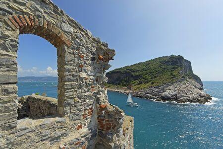 View from Saint Peter Church, Portovenere, Italy. Stock Photo