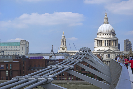 LONDON, ENGLAND - AUGUST 2012; View from the Millenium bridge.