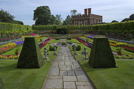 EAST MOLESEY, ENGLAND - AUGUST 2012; Garden at Hampton Court Palace.