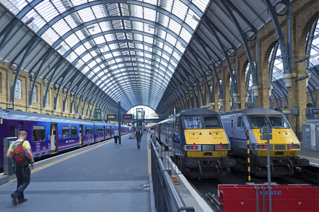 LONDON, ENGLAND - AUGUST 2012; Platforms at Kings Cross station.
