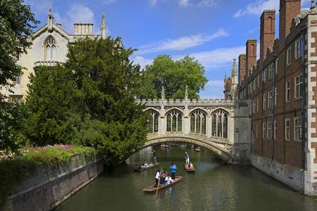 CAMBRIDGE, ENGLAND - AUGUST 2012; Bridge of Sighs at St. Johns College in Cambridge University.