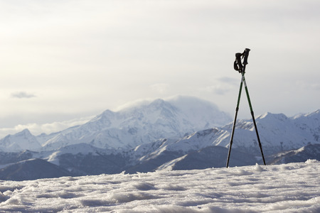 Looking at the Rosa mount from the Mottarone, Piedmont, Italy.