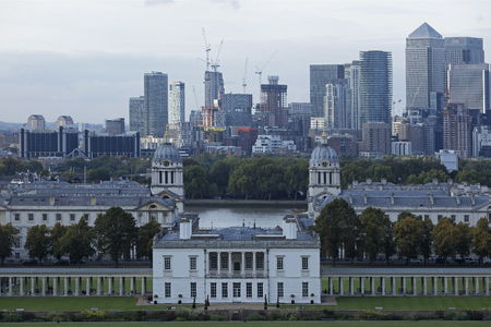 LONDON - SEPTEMBER 2017; View from Greenwich Park towards Canary Wharf. Editorial