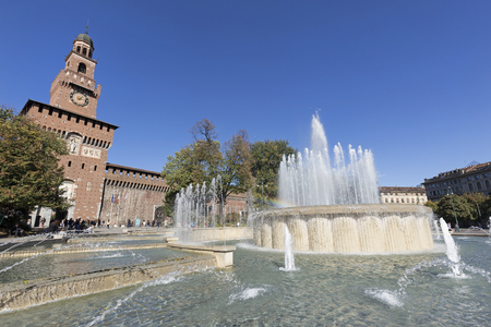 MILAN, ITALY - OCTOBER 2017; The fountain in front of the Sforza Castle.