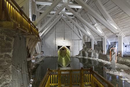 WIELICZKA, POLAND - DECEMBER 2017; The Jozef Pilsudski Grotto in the Wieliczka Salt Mine.