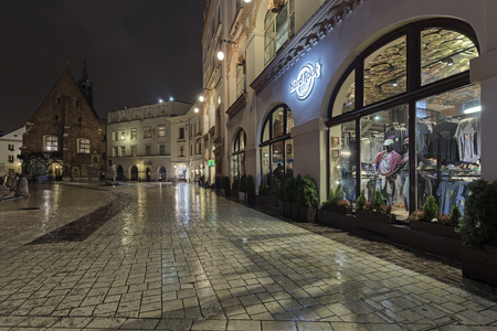 KRAKOW, POLAND - DECEMBER 2017; Hard Rock Cafe in the old town.